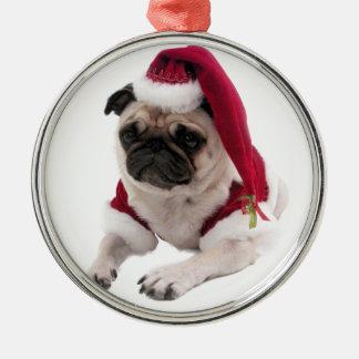 Carlin de Noël - chien du père noël - poursuivez Ornement Rond Argenté