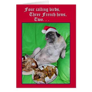 Carlin drôle 12 jours de carte de Noël par