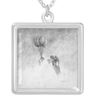 Carlin et ange pendentif carré