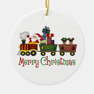 Carlins adorables et Père Noël dans le tee - shirt Ornement Rond En Céramique