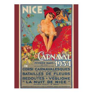 Carnaval français vintage 1934 agréable carte postale