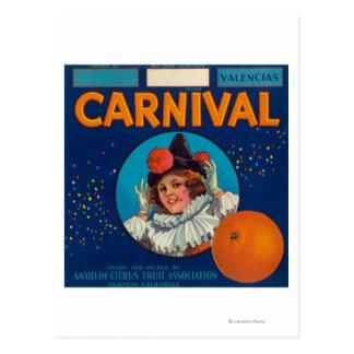 Carnaval LabelAnaheim orange, CA Cartes Postales