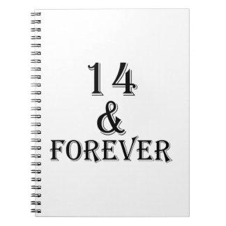 Carnet 14 et pour toujours conceptions d'anniversaire