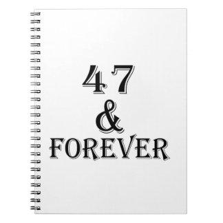 Carnet 47 et pour toujours conceptions d'anniversaire