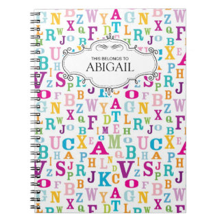 Carnet à spirale personnalisé de lettres