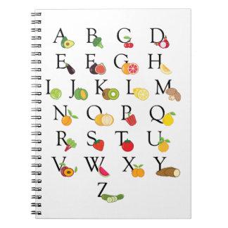 Carnet A-Z d'alphabet d'ABC de fruits et légumes de