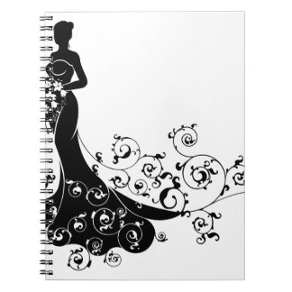 Carnet Abrégé sur silhouette de mariage de bouquet de