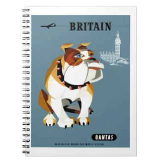 Carnet Affiche 1960 de voyage de bouledogue de Qantas