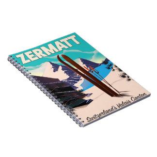 Carnet Affiche de vacances de ski de Zermatt