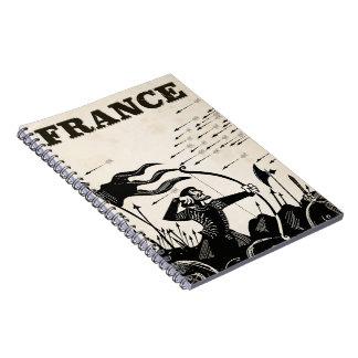 Carnet Affiche vintage de voyage de la France. voiture