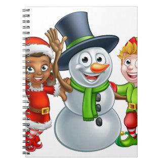 Carnet Aides et bonhomme de neige d'Elf Santa de Noël