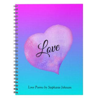 Carnet Amour rose et bleu de coeur d'aquarelle