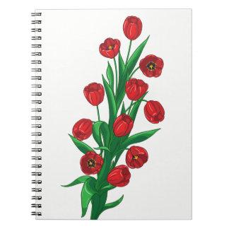 Carnet Amour rouge floral de fleur de ressort de fleur de