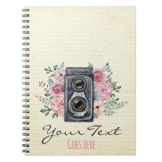 Carnet Appareil-photo vintage Photograper rose rustique