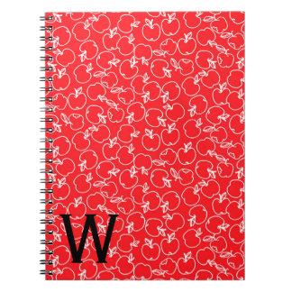 Carnet Apple blanc modèlent sur le monogramme rouge