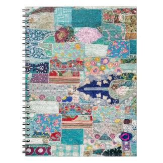Carnet Aqua et conception bleue de tapisserie d'édredon