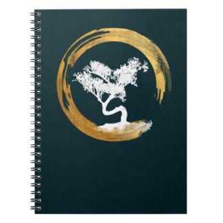 Carnet Arbre de bonsaïs. Cercle d'Enso de zen. Feng Shui