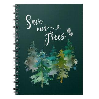 Carnet Arbres, forêt. Sauvez nos arbres. Watercolor.