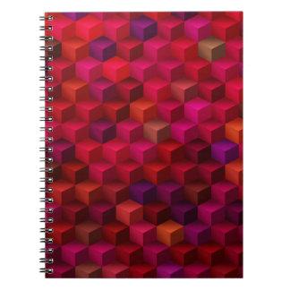 Carnet Art de motif de cube en cubisme de rouge cramoisi