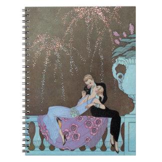 Carnet Art déco vintage Fireworks Le Feu, George Barbier