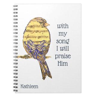 Carnet Avec ma chanson I félicitez-le oiseau d'écriture