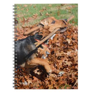 Carnet Beagle jouant avec le bâton dans le feuille