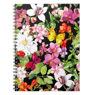 Carnet Beau, floral, peint à la main, fleurs, noir,