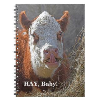 Carnet Bébé drôle de FOIN ! Jeu de mots sexy de vache