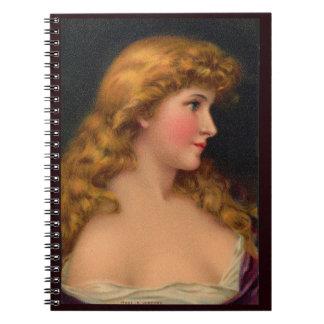 Carnet Belle femme du 19ème siècle avec de longs cheveux