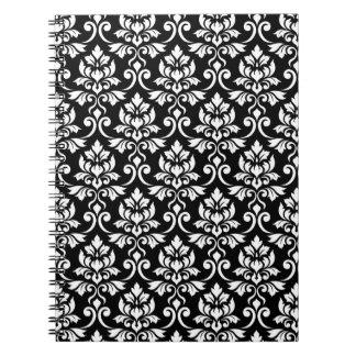 Carnet Blanc de motif de damassé de Feuille sur le noir