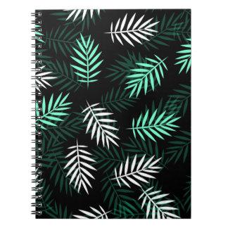 Carnet blanc et vert élégant des palmettes |