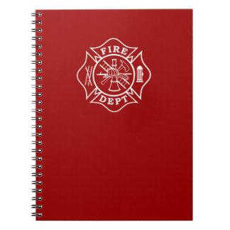 Carnet Bloc-notes de croix maltaise de département du feu