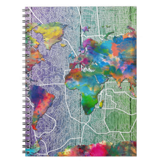 Carnet bois 4 de carte du monde