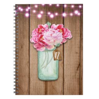 Carnet Bois rustique rose de fleurs de lumières de