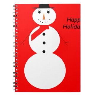 Carnet Bonhomme de neige avec l'arrière - plan rouge