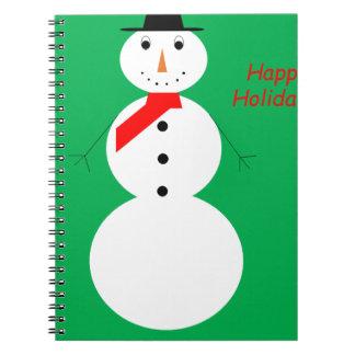 Carnet Bonhomme de neige avec l'arrière - plan vert