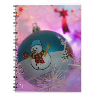 Carnet Bonhomme de neige - boules de Noël - Joyeux Noël