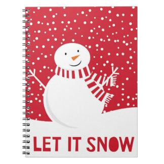 Carnet bonhomme de neige rouge et blanc contemporain