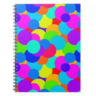 Carnet Bulles lumineuses au néon de cercles de couleurs
