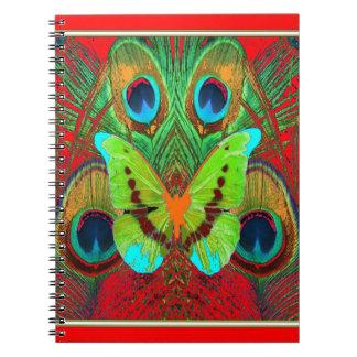 Carnet cadeaux verts de paon de papillon