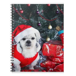 Carnet Caniche père Noël - chien de Noël - chien du père