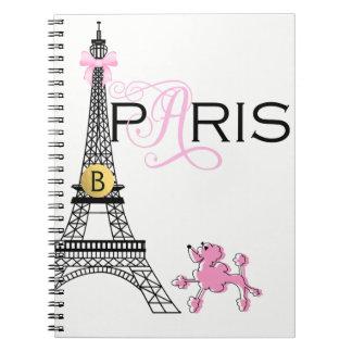 Carnet Caniche rose de Paris France de Tour Eiffel d'arc