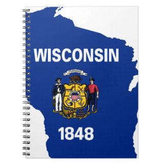 Carnet Carte de drapeau du Wisconsin