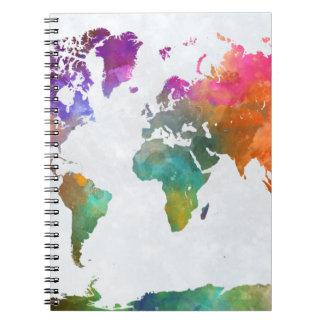 Carnet Carte du monde dans l'aquarelle