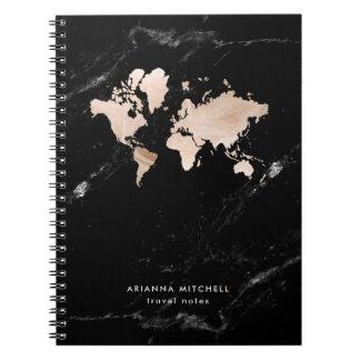 Carnet Carte légère du monde d'or sur le marbre noir