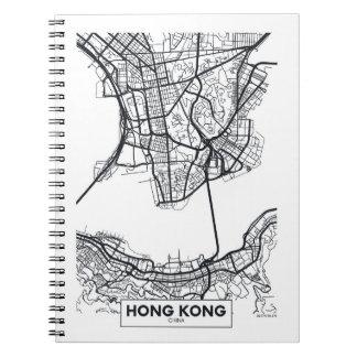 Carnet Carte noire et blanche de ville de Hong Kong,