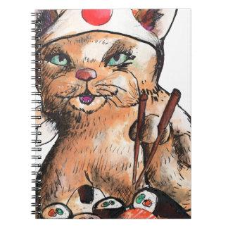 Carnet cat eating sushi