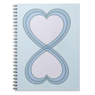 Carnet Cercle coeur bleu et rose de 8