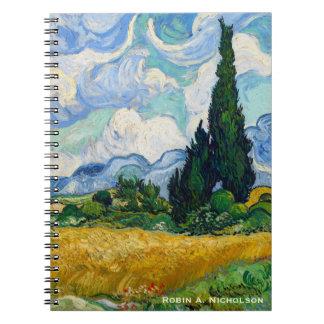 Carnet Champ de blé de Van Gogh avec des cyprès