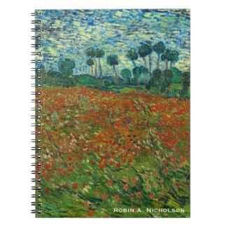 Carnet Champ de Van Gogh avec des pavots personnalisés